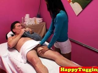 Dickriding asian masseuse gives nice handjob