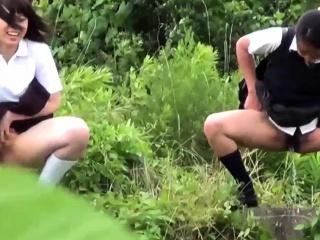 Pissing japanese teens in uniform