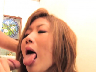 Asian girl blows one guy while she gets dildo fucked away from